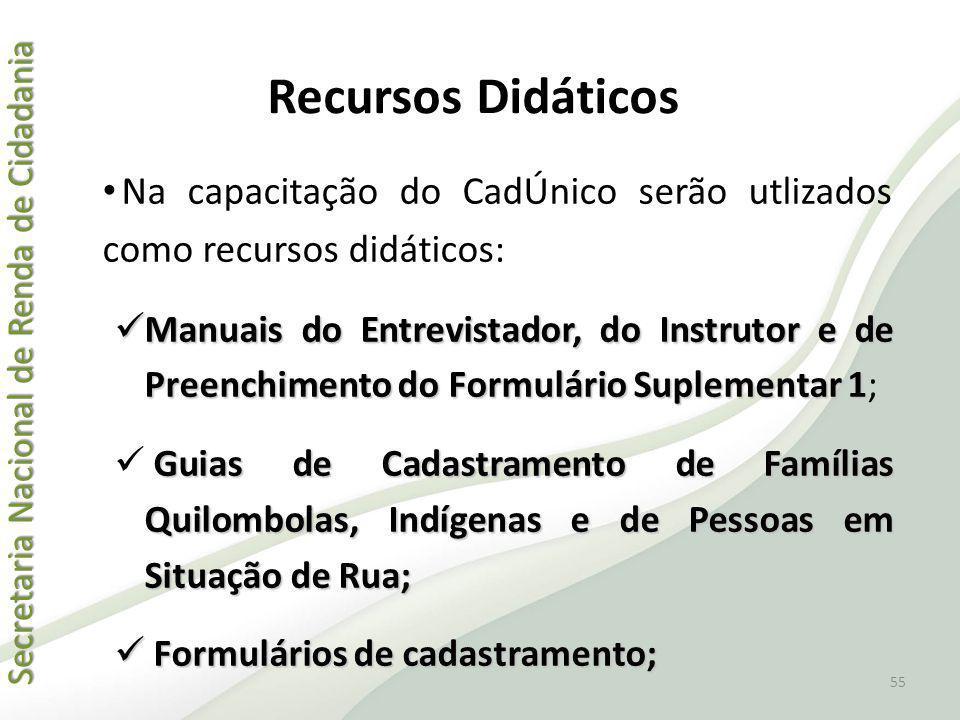 Secretaria Nacional de Renda de Cidadania Secretaria Nacional de Renda de Cidadania Recursos Didáticos Na capacitação do CadÚnico serão utlizados como