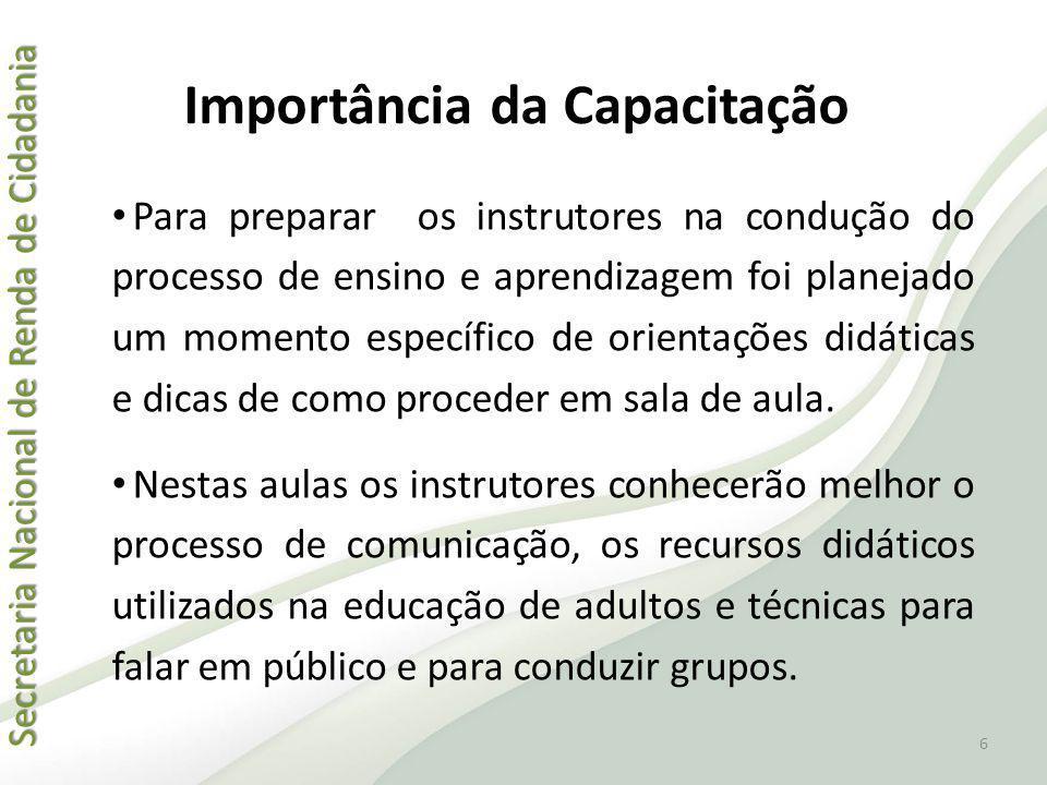 Secretaria Nacional de Renda de Cidadania Secretaria Nacional de Renda de Cidadania Importância da Capacitação Para preparar os instrutores na conduçã