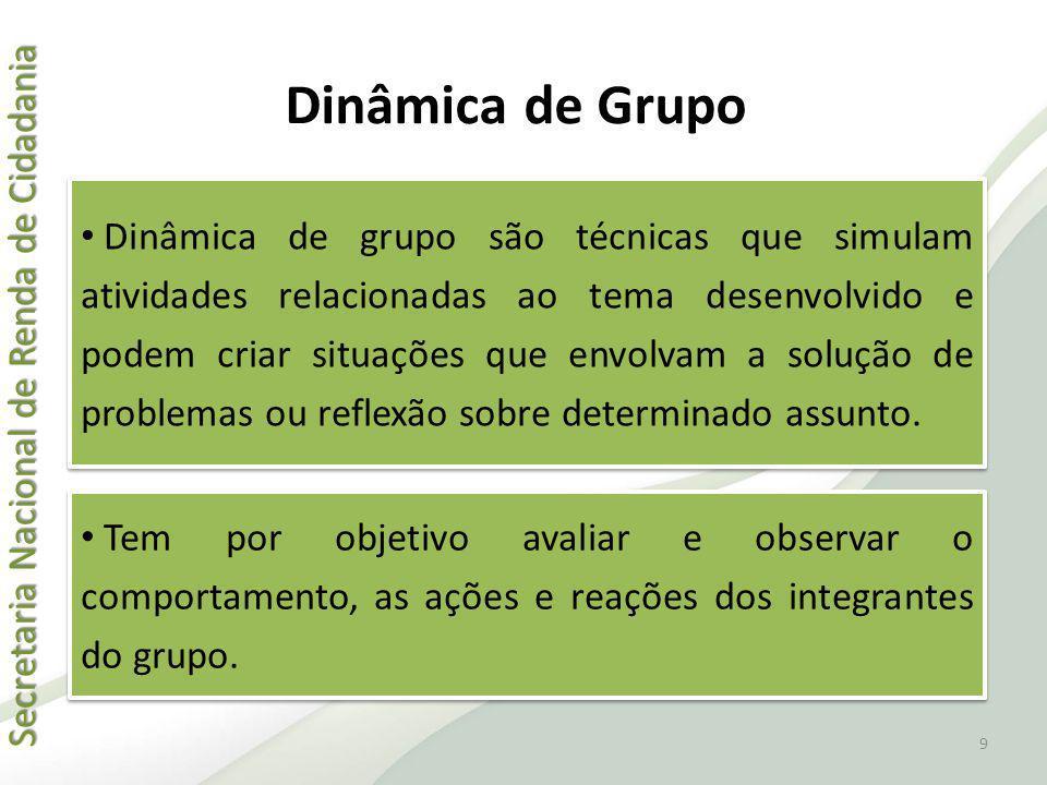 Secretaria Nacional de Renda de Cidadania Secretaria Nacional de Renda de Cidadania Dinâmica de Grupo Dinâmica de grupo são técnicas que simulam ativi