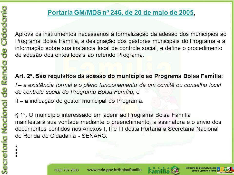 Portaria GM/MDS nº 246, de 20 de maio de 2005Portaria GM/MDS nº 246, de 20 de maio de 2005, Aprova os instrumentos necessários à formalização da adesã