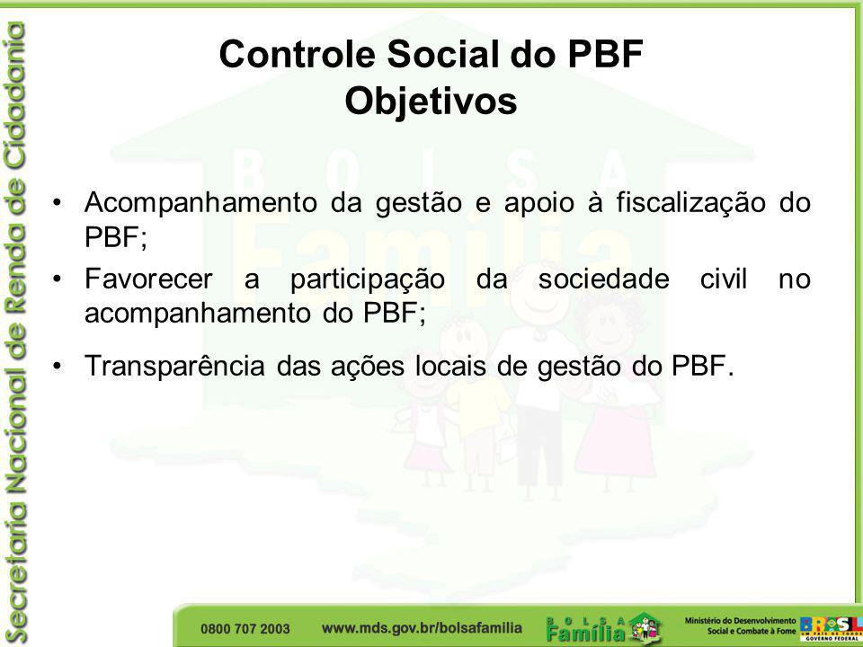 Controle Social do PBF Objetivos Acompanhamento da gestão e apoio à fiscalização do PBF; Favorecer a participação da sociedade civil no acompanhamento