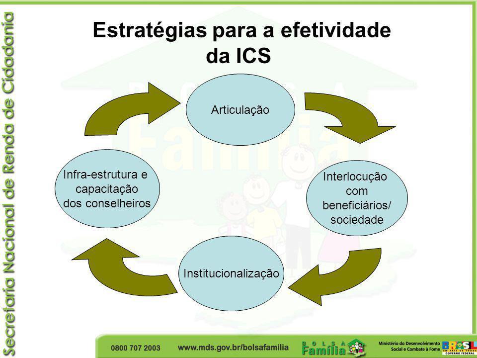 Articulação Institucionalização Infra-estrutura e capacitação dos conselheiros Interlocução com beneficiários/ sociedade Estratégias para a efetividad
