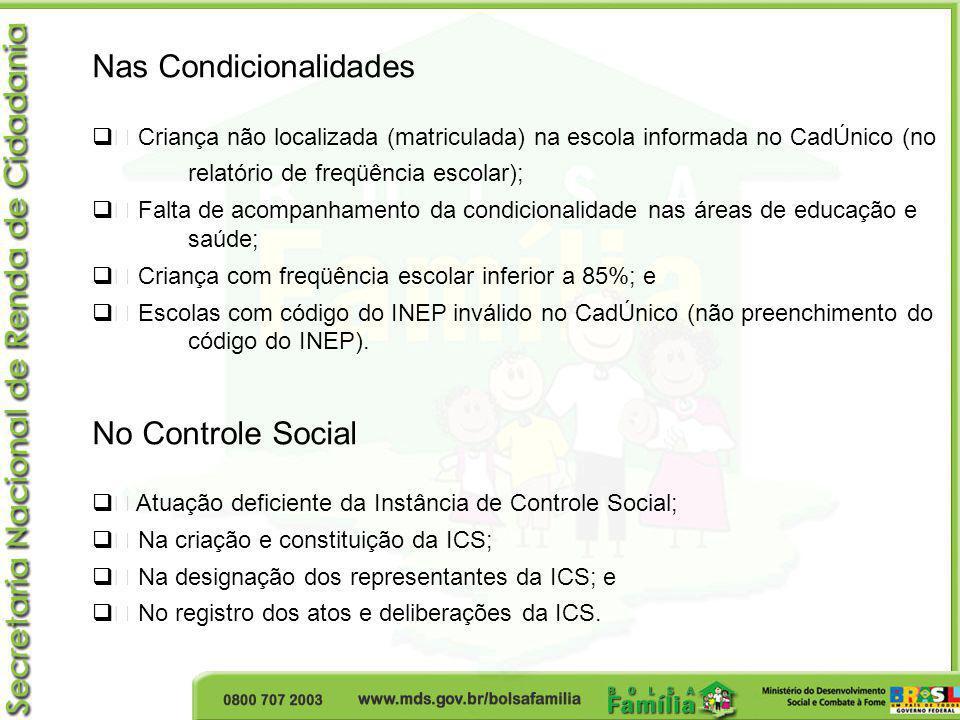 Nas Condicionalidades • Criança não localizada (matriculada) na escola informada no CadÚnico (no relatório de freqüência escolar); • Falta de acompanh
