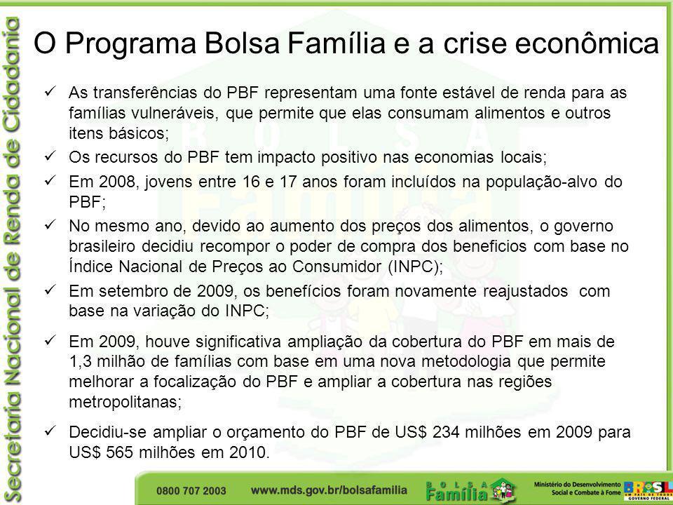 O Programa Bolsa Família e a crise econômica As transferências do PBF representam uma fonte estável de renda para as famílias vulneráveis, que permite
