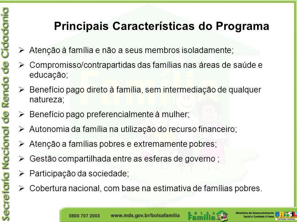 Principais Características do Programa Atenção à família e não a seus membros isoladamente; Compromisso/contrapartidas das famílias nas áreas de saúde