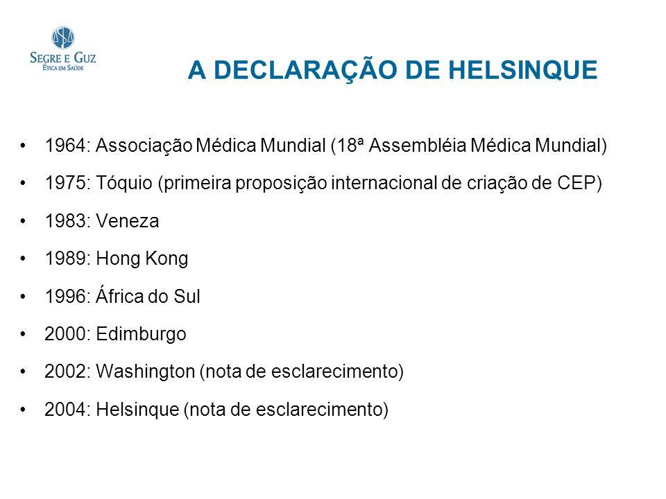 A DECLARAÇÃO DE HELSINQUE 1964: Associação Médica Mundial (18ª Assembléia Médica Mundial) 1975: Tóquio (primeira proposição internacional de criação d