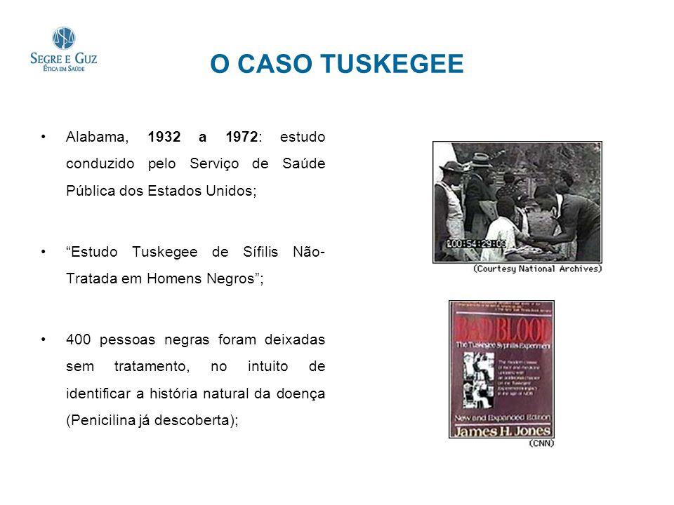 O CASO TUSKEGEE Alabama, 1932 a 1972: estudo conduzido pelo Serviço de Saúde Pública dos Estados Unidos; Estudo Tuskegee de Sífilis Não- Tratada em Ho