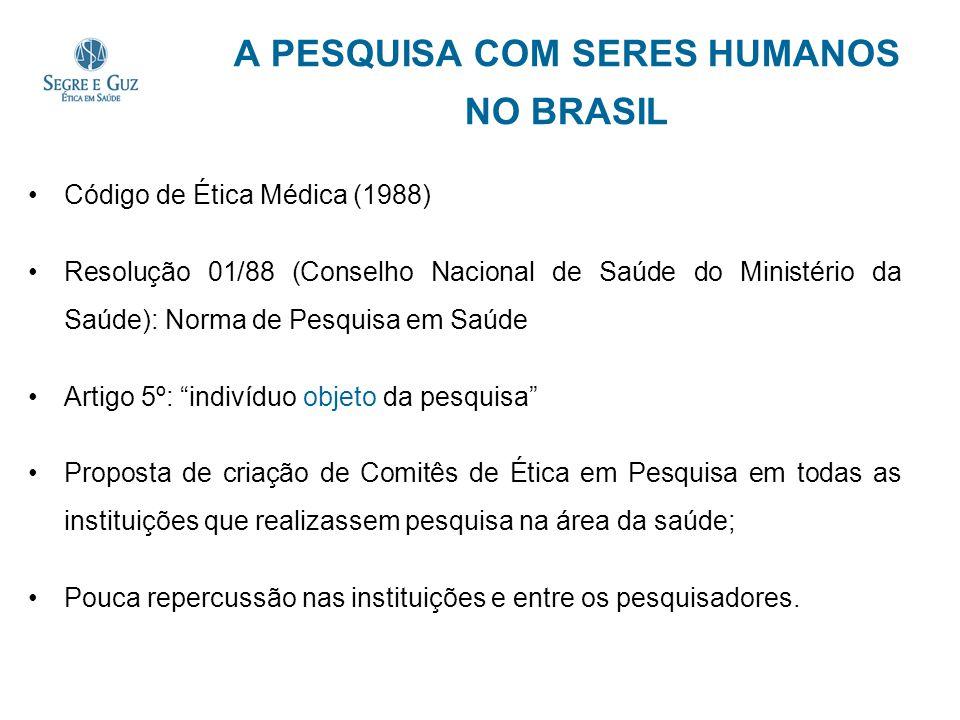 A PESQUISA COM SERES HUMANOS NO BRASIL Código de Ética Médica (1988) Resolução 01/88 (Conselho Nacional de Saúde do Ministério da Saúde): Norma de Pes