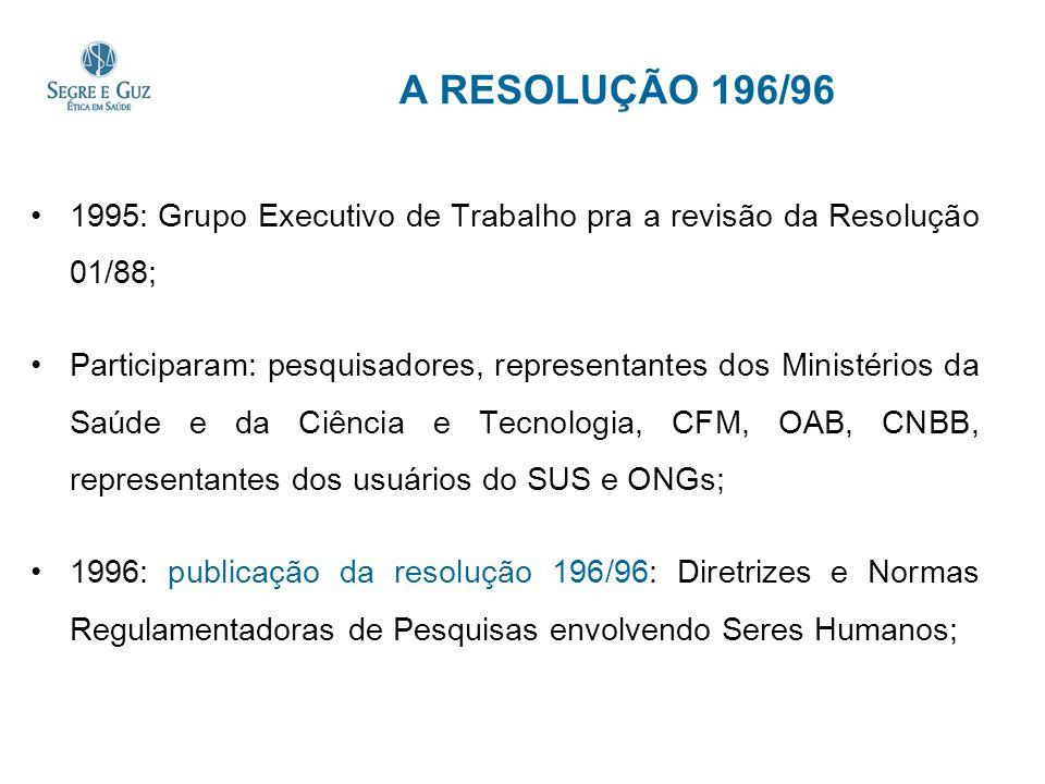 A RESOLUÇÃO 196/96 1995: Grupo Executivo de Trabalho pra a revisão da Resolução 01/88; Participaram: pesquisadores, representantes dos Ministérios da