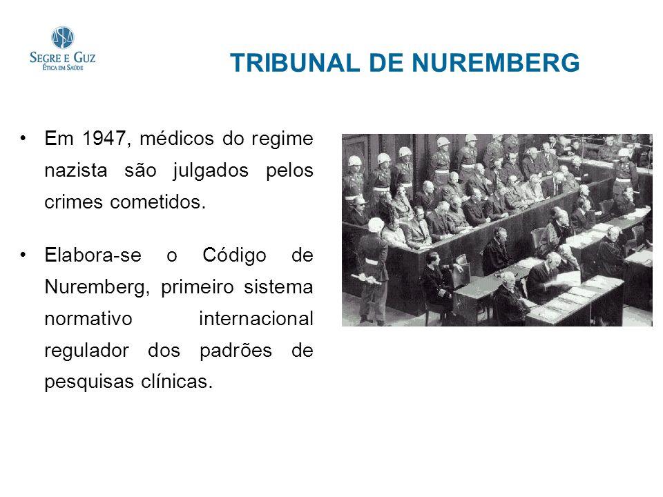 TRIBUNAL DE NUREMBERG Em 1947, médicos do regime nazista são julgados pelos crimes cometidos. Elabora-se o Código de Nuremberg, primeiro sistema norma