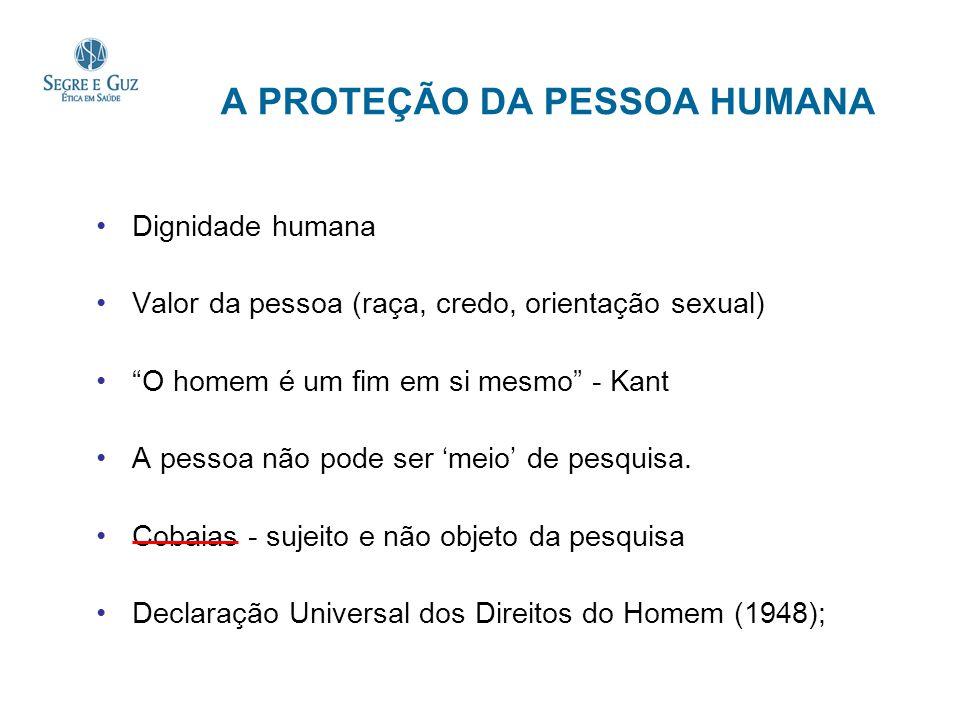 A PROTEÇÃO DA PESSOA HUMANA Dignidade humana Valor da pessoa (raça, credo, orientação sexual) O homem é um fim em si mesmo - Kant A pessoa não pode se