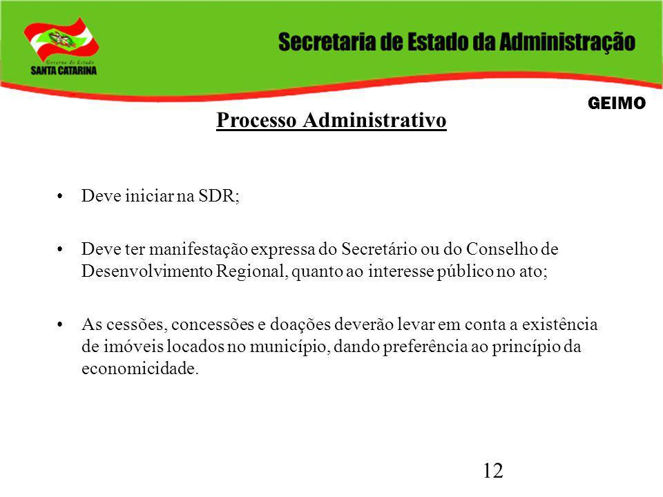 12 Processo Administrativo Deve iniciar na SDR; Deve ter manifestação expressa do Secretário ou do Conselho de Desenvolvimento Regional, quanto ao int