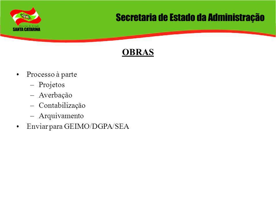 OBRAS Processo à parte –Projetos –Averbação –Contabilização –Arquivamento Enviar para GEIMO/DGPA/SEA