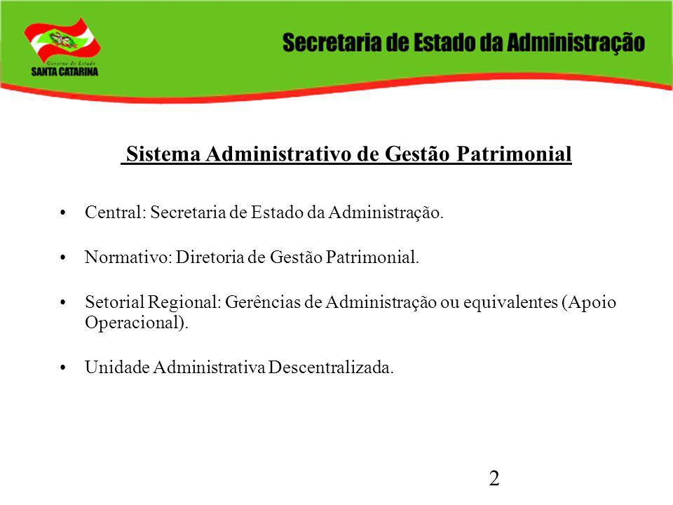 2 Sistema Administrativo de Gestão Patrimonial Central: Secretaria de Estado da Administração. Normativo: Diretoria de Gestão Patrimonial. Setorial Re