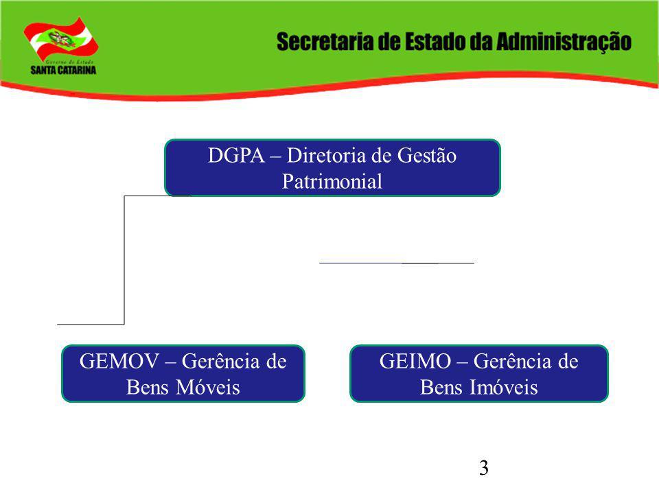3 DGPA – Diretoria de Gestão Patrimonial GEMOV – Gerência de Bens Móveis GEIMO – Gerência de Bens Imóveis