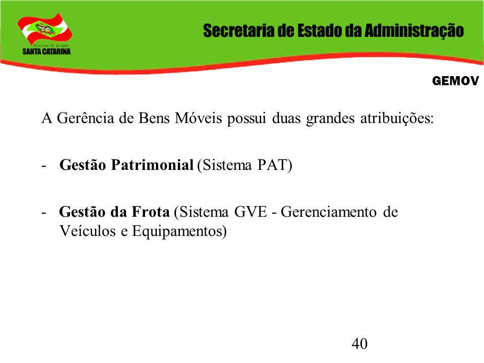 40 GEMOV A Gerência de Bens Móveis possui duas grandes atribuições: -Gestão Patrimonial (Sistema PAT) - Gestão da Frota (Sistema GVE - Gerenciamento d