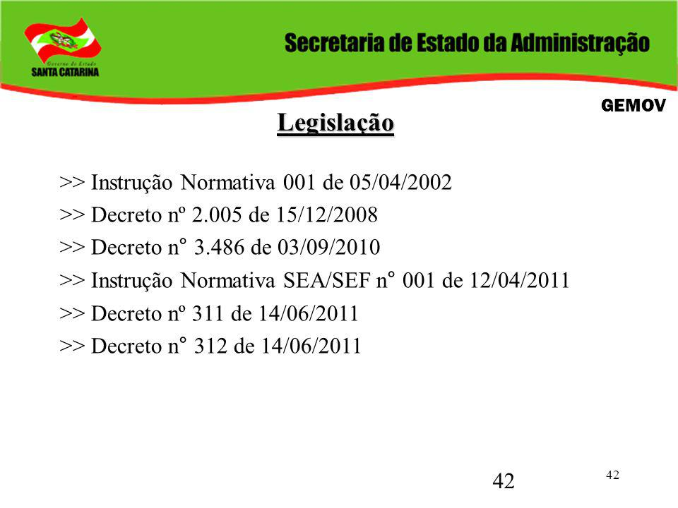 42 Legislação Legislação >> Instrução Normativa 001 de 05/04/2002 >> Decreto nº 2.005 de 15/12/2008 >> Decreto n° 3.486 de 03/09/2010 >> Instrução Normativa SEA/SEF n° 001 de 12/04/2011 >> Decreto nº 311 de 14/06/2011 >> Decreto n° 312 de 14/06/2011 GEMOV 42