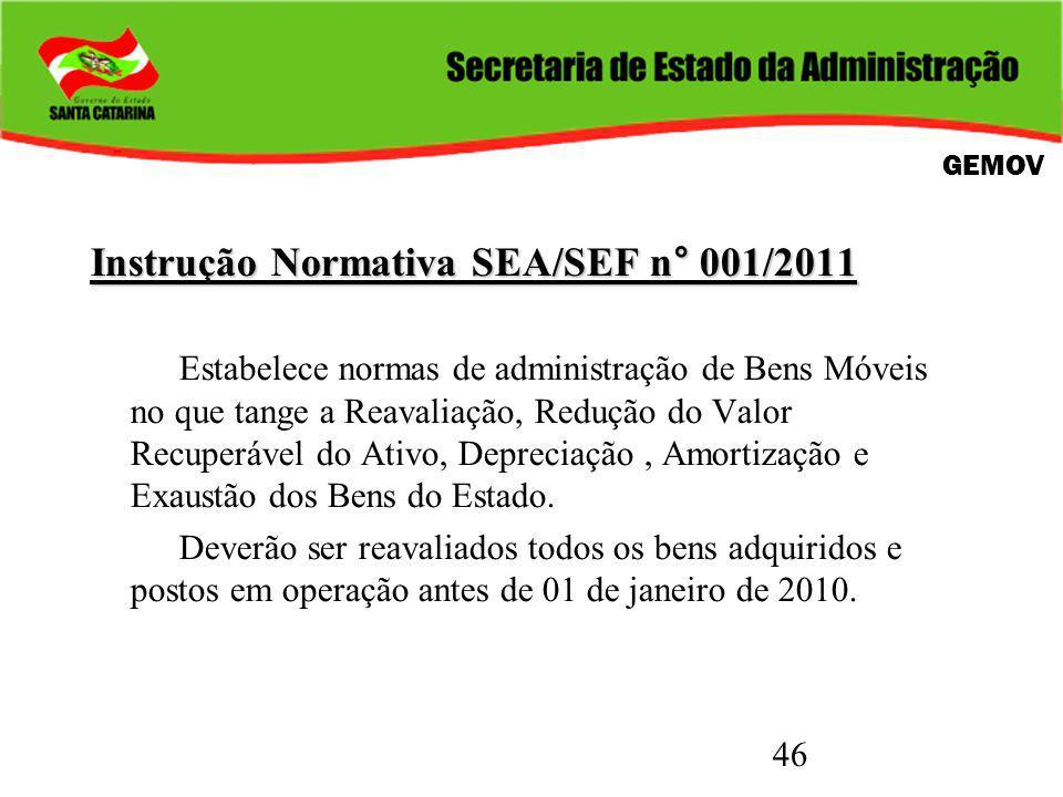 46 Instrução Normativa SEA/SEF n° 001/2011 Estabelece normas de administração de Bens Móveis no que tange a Reavaliação, Redução do Valor Recuperável do Ativo, Depreciação, Amortização e Exaustão dos Bens do Estado.