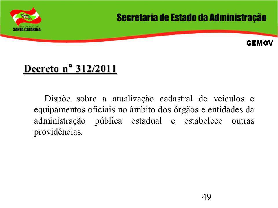 49 Decreto n° 312/2011 Dispõe sobre a atualização cadastral de veículos e equipamentos oficiais no âmbito dos órgãos e entidades da administração pública estadual e estabelece outras providências.