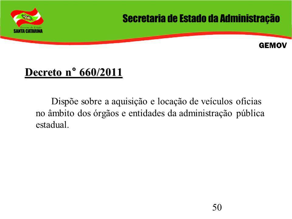50 Decreto n° 660/2011 Dispõe sobre a aquisição e locação de veículos oficias no âmbito dos órgãos e entidades da administração pública estadual. GEMO