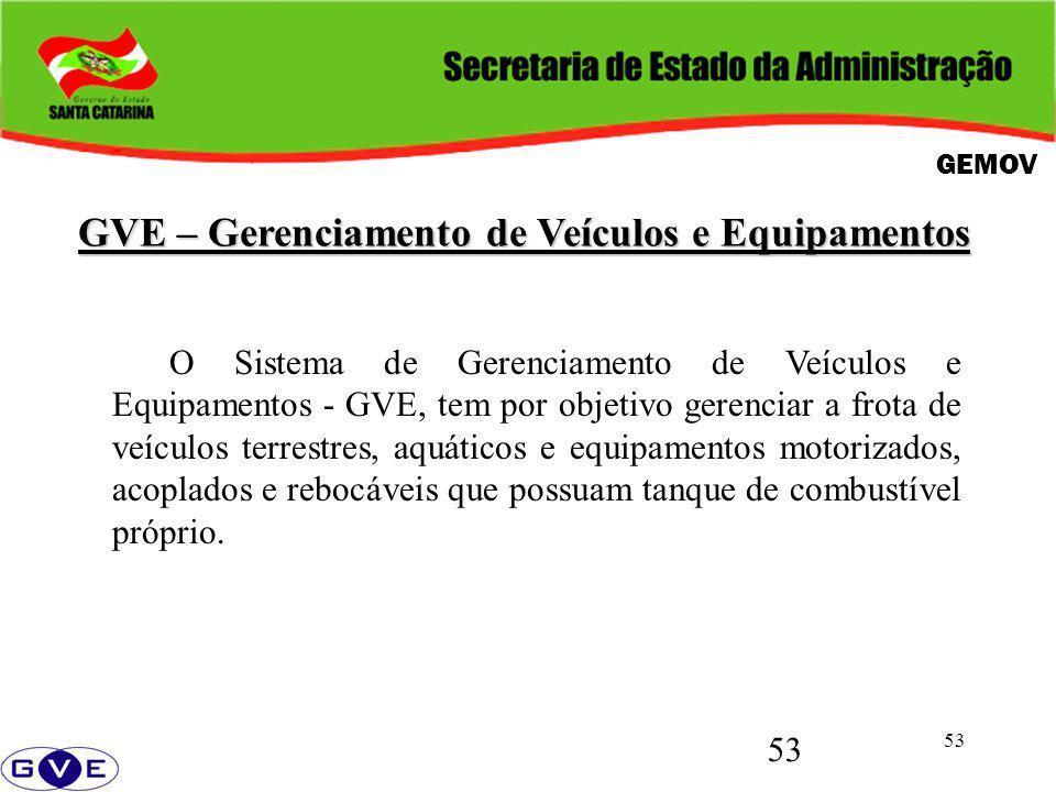 53 GVE – Gerenciamento de Veículos e Equipamentos O Sistema de Gerenciamento de Veículos e Equipamentos - GVE, tem por objetivo gerenciar a frota de v