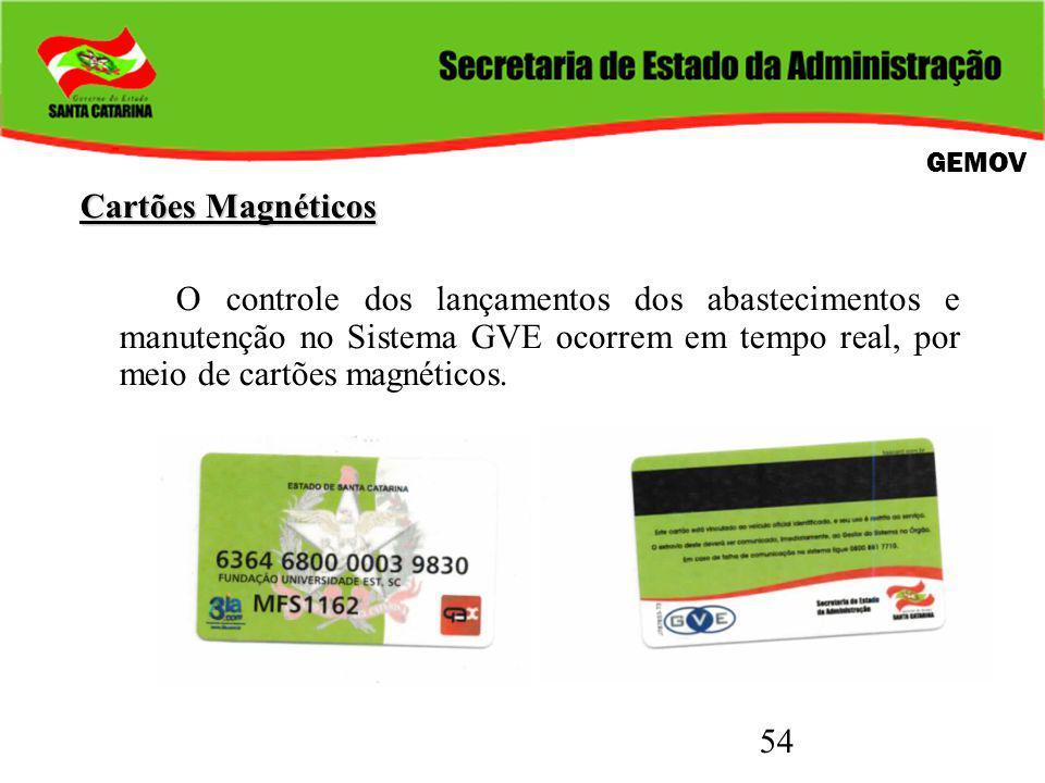 54 Cartões Magnéticos O controle dos lançamentos dos abastecimentos e manutenção no Sistema GVE ocorrem em tempo real, por meio de cartões magnéticos.