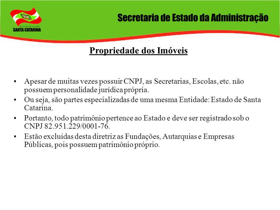 Propriedade dos Imóveis Apesar de muitas vezes possuir CNPJ, as Secretarias, Escolas, etc.