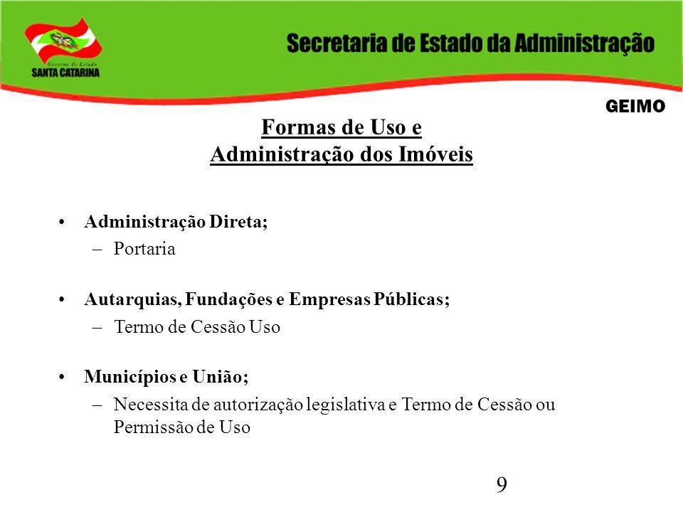 9 Formas de Uso e Administração dos Imóveis Administração Direta; –Portaria Autarquias, Fundações e Empresas Públicas; –Termo de Cessão Uso Municípios