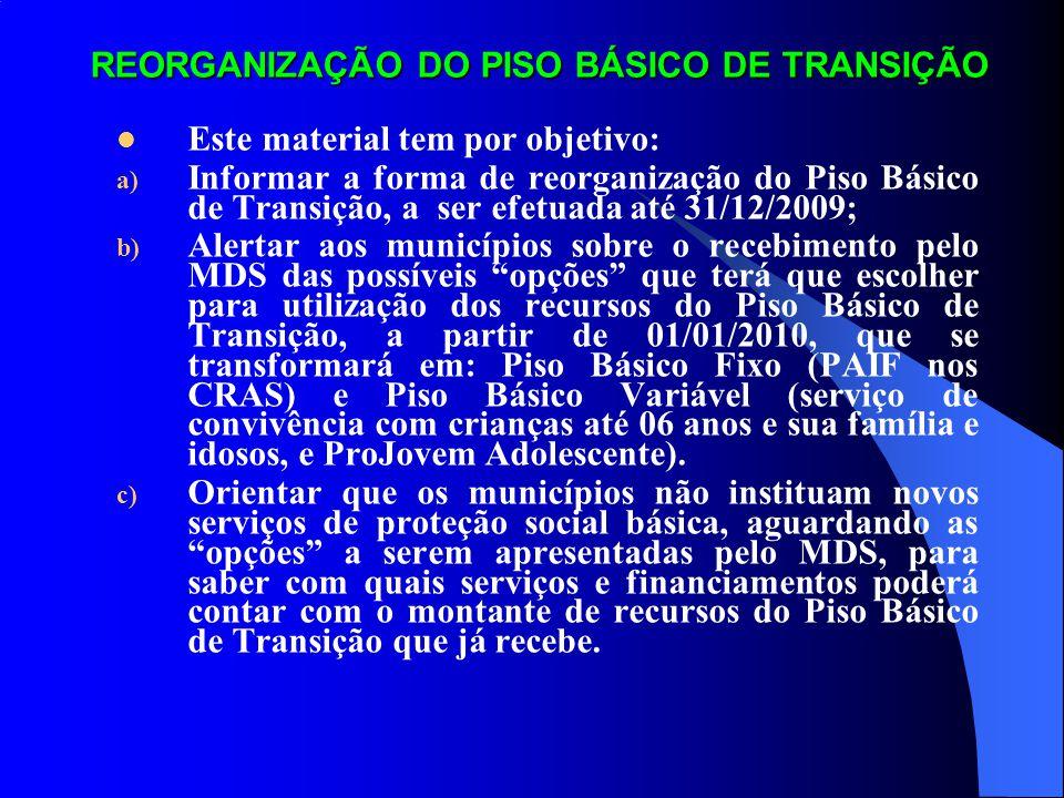 REORGANIZAÇÃO DO PISO BÁSICO DE TRANSIÇÃO Este material tem por objetivo: a) Informar a forma de reorganização do Piso Básico de Transição, a ser efet