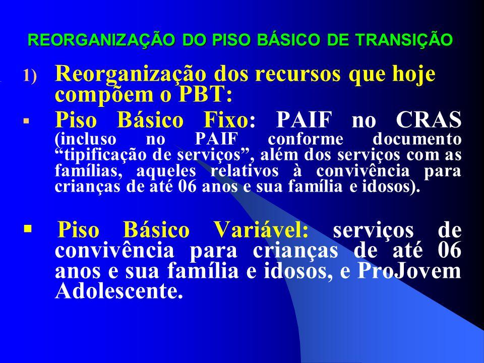 REORGANIZAÇÃO DO PISO BÁSICO DE TRANSIÇÃO ORDEM DE PRIORIDADE DE SERVIÇOS: 1°) PAIF no CRAS: - Estar habilitado em gestão básica ou plena, ou se habilitar até dezembro de 2009; - Possuir déficit de CRAS para a cobertura de famílias pobres (famílias com renda percapita de até ½ salário mínimo – cadastradas no CadÚnico), depois de considerada a cobertura de família por CRAS já co-financiados pelo Piso Básico Fixo, e possuir recursos do PBT suficiente para financiá-los integralmente; - Ter número de CRAS cadastrados no Censo CRAS 2008 e sem co- financiamento por meio do PBF, superior ao número de CRAS que poderão ser implantados, e segundo déficit de CRAS para atender famílias pobres (CadÚnico); - Possuir recurso do PBT suficiente para financiar 70% (50% ou mais) de um PAIF (considerado o porte do município).