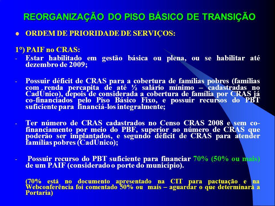 REORGANIZAÇÃO DO PISO BÁSICO DE TRANSIÇÃO Este material tem por objetivo: a) Informar a forma de reorganização do Piso Básico de Transição, a ser efetuada até 31/12/2009; b) Alertar aos municípios sobre o recebimento pelo MDS das possíveis opções que terá que escolher para utilização dos recursos do Piso Básico de Transição, a partir de 01/01/2010, que se transformará em: Piso Básico Fixo (PAIF nos CRAS) e Piso Básico Variável (serviço de convivência com crianças até 06 anos e sua família e idosos, e ProJovem Adolescente).