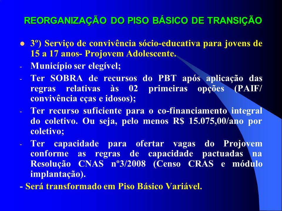 REORGANIZAÇÃO DO PISO BÁSICO DE TRANSIÇÃO 3º) Serviço de convivência sócio-educativa para jovens de 15 a 17 anos- Projovem Adolescente. - Município se