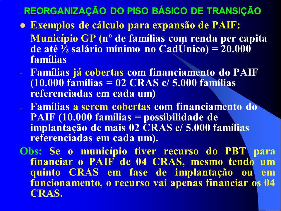 REORGANIZAÇÃO DO PISO BÁSICO DE TRANSIÇÃO Exemplos de cálculo para expansão de PAIF: - Município MP = (nº de famílias com renda per capita de até ½ salário mínimo no CadÚnico) = 7.500 famílias.