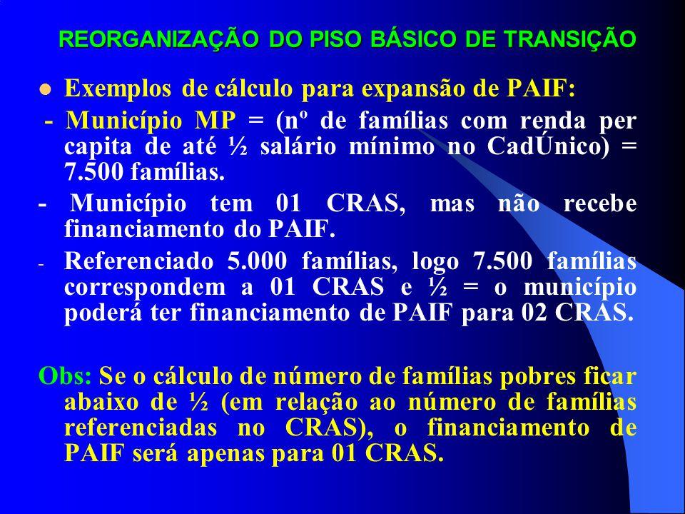 REORGANIZAÇÃO DO PISO BÁSICO DE TRANSIÇÃO Exemplos de cálculo para expansão de PAIF: Município PP1= (nº de famílias com renda per capita de até ½ salário mínimo no CadÚnico) = 600 famílias.