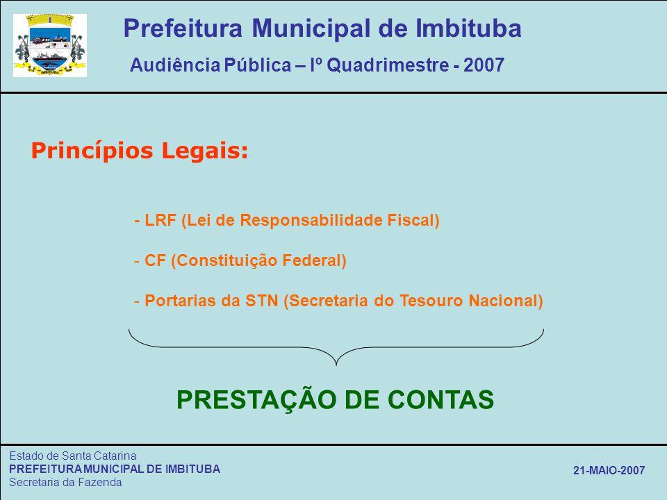 Estado de Santa Catarina PREFEITURA MUNICIPAL DE IMBITUBA Secretaria da Fazenda 21-MAIO-2007 Princípios Legais: - LRF (Lei de Responsabilidade Fiscal)