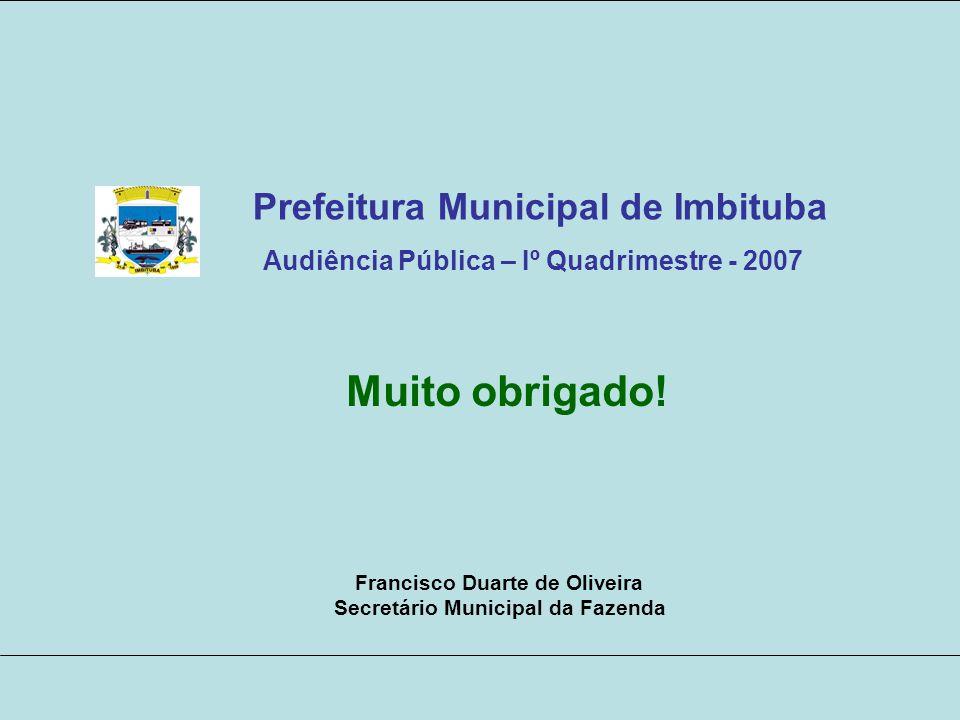 Muito obrigado! Francisco Duarte de Oliveira Secretário Municipal da Fazenda Prefeitura Municipal de Imbituba Audiência Pública – Iº Quadrimestre - 20