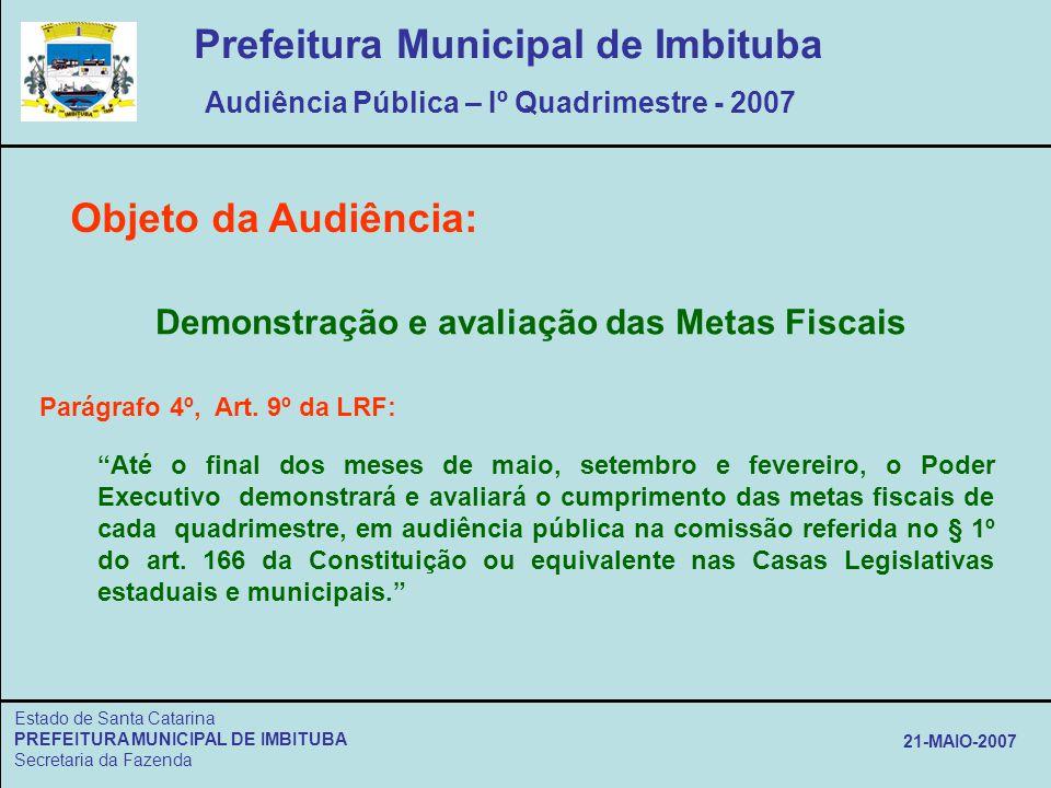 Estado de Santa Catarina PREFEITURA MUNICIPAL DE IMBITUBA Secretaria da Fazenda 21-MAIO-2007 Objeto da Audiência: Demonstração e avaliação das Metas F