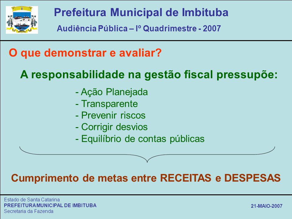Estado de Santa Catarina PREFEITURA MUNICIPAL DE IMBITUBA Secretaria da Fazenda 21-MAIO-2007 O que demonstrar e avaliar? A responsabilidade na gestão