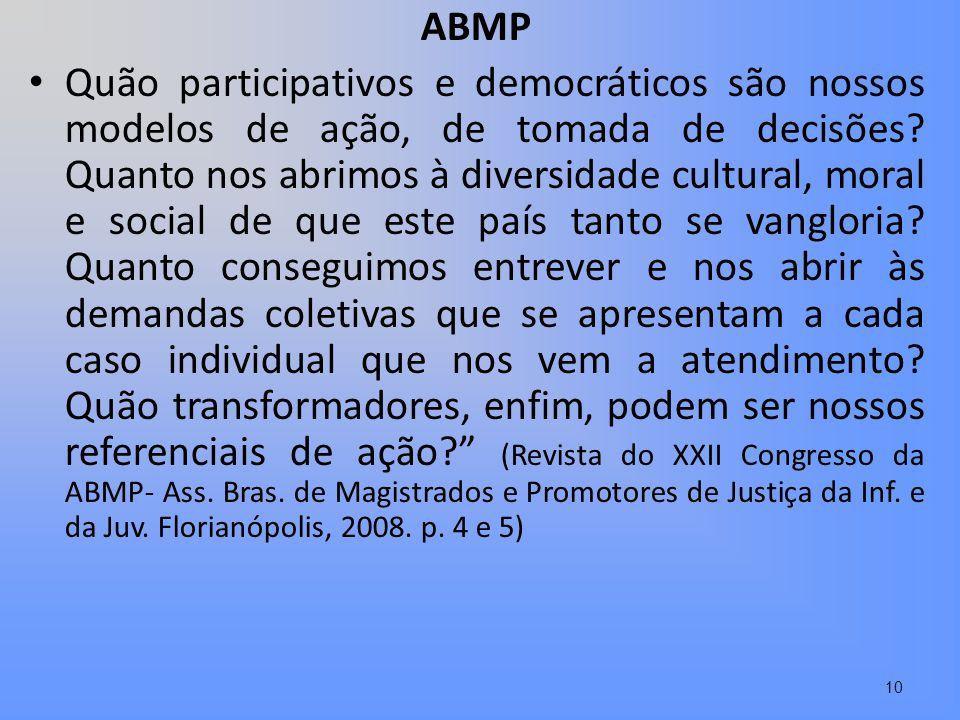 ABMP Quão participativos e democráticos são nossos modelos de ação, de tomada de decisões? Quanto nos abrimos à diversidade cultural, moral e social d