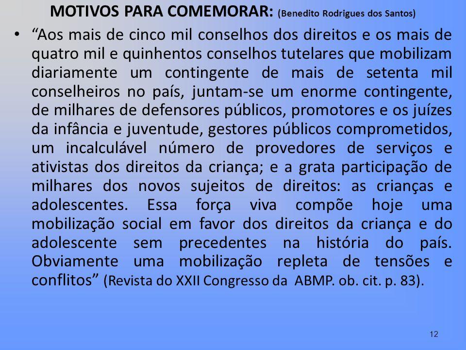 MOTIVOS PARA COMEMORAR: (Benedito Rodrigues dos Santos) Aos mais de cinco mil conselhos dos direitos e os mais de quatro mil e quinhentos conselhos tu