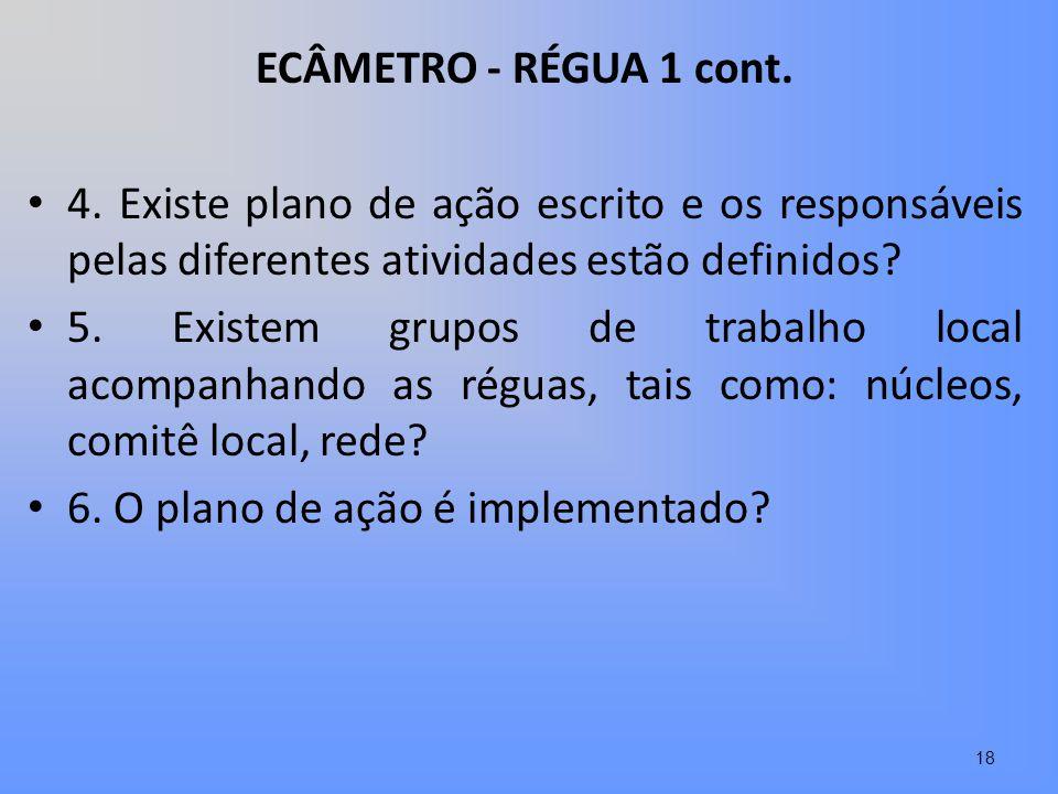 ECÂMETRO - RÉGUA 1 cont. 4. Existe plano de ação escrito e os responsáveis pelas diferentes atividades estão definidos? 5. Existem grupos de trabalho