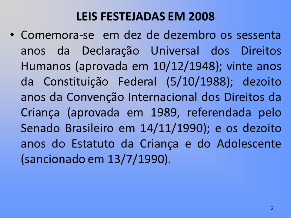 LEIS FESTEJADAS EM 2008 Comemora-se em dez de dezembro os sessenta anos da Declaração Universal dos Direitos Humanos (aprovada em 10/12/1948); vinte a