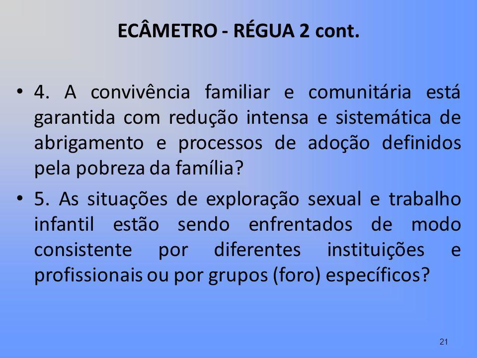 ECÂMETRO - RÉGUA 2 cont. 4. A convivência familiar e comunitária está garantida com redução intensa e sistemática de abrigamento e processos de adoção