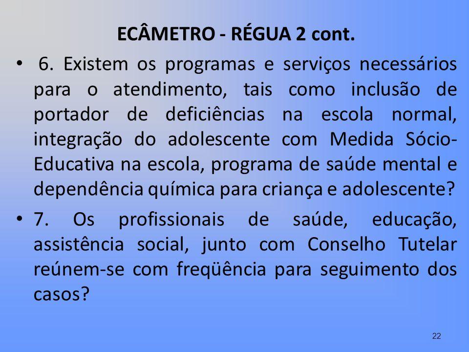 ECÂMETRO - RÉGUA 2 cont. 6. Existem os programas e serviços necessários para o atendimento, tais como inclusão de portador de deficiências na escola n