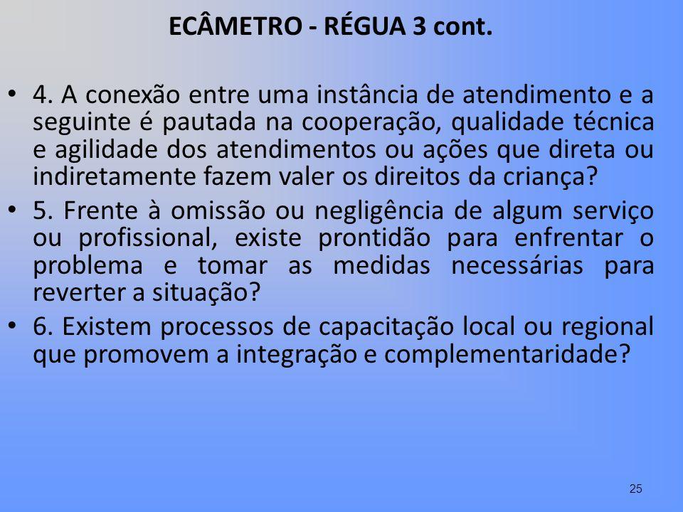 ECÂMETRO - RÉGUA 3 cont. 4. A conexão entre uma instância de atendimento e a seguinte é pautada na cooperação, qualidade técnica e agilidade dos atend