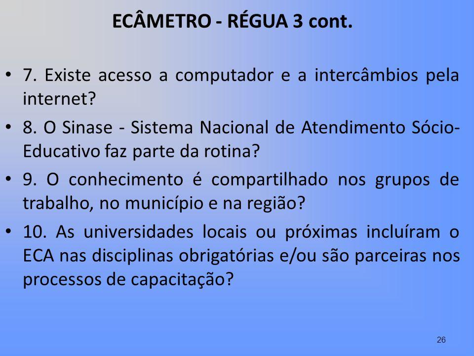 ECÂMETRO - RÉGUA 3 cont. 7. Existe acesso a computador e a intercâmbios pela internet? 8. O Sinase - Sistema Nacional de Atendimento Sócio- Educativo
