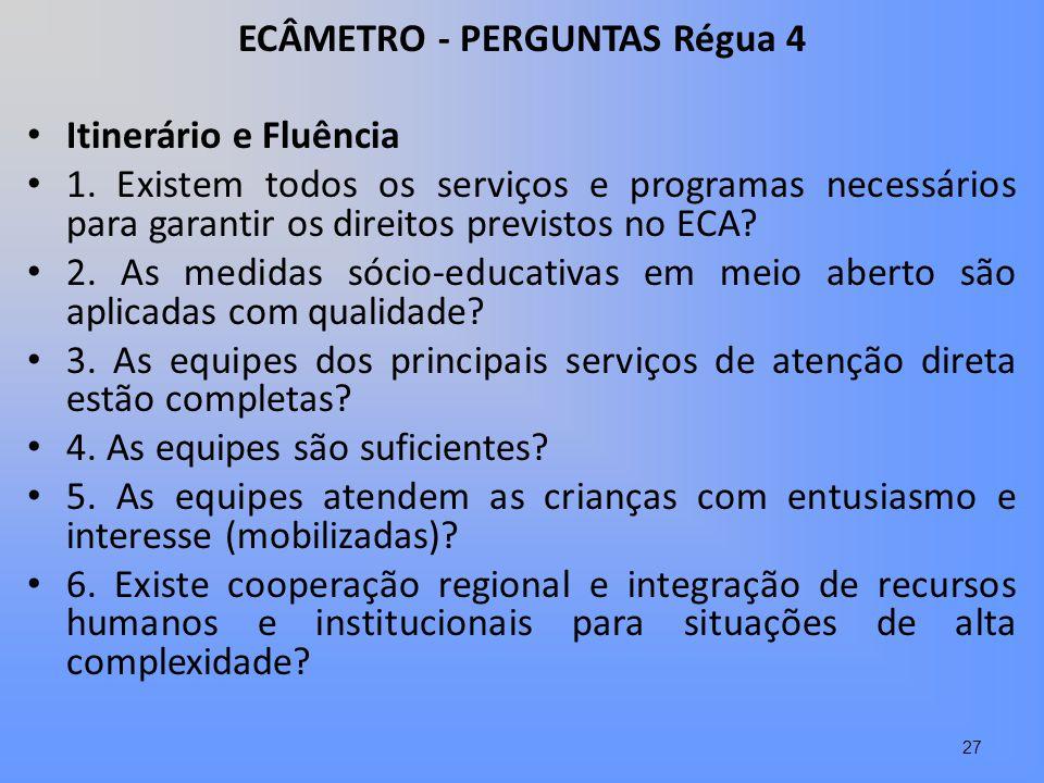 ECÂMETRO - PERGUNTAS Régua 4 Itinerário e Fluência 1. Existem todos os serviços e programas necessários para garantir os direitos previstos no ECA? 2.