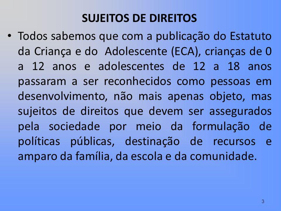 SUJEITOS DE DIREITOS Todos sabemos que com a publicação do Estatuto da Criança e do Adolescente (ECA), crianças de 0 a 12 anos e adolescentes de 12 a