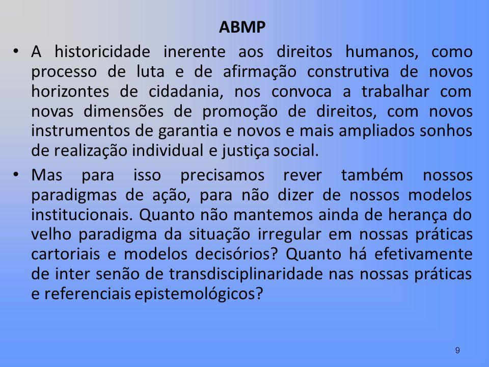 ABMP A historicidade inerente aos direitos humanos, como processo de luta e de afirmação construtiva de novos horizontes de cidadania, nos convoca a t