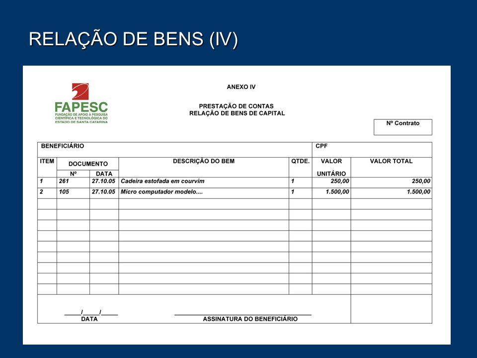 RELAÇÃO DE BENS (IV)
